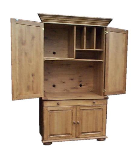 Armoire ordinateur ouverte produit de bois fabriqu - Meuble armoire informatique ...